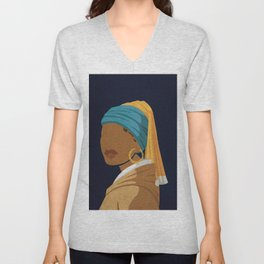 Girl With a Bamboo Earring Unisex V-Neck
