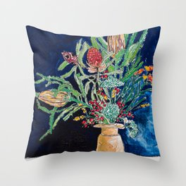 Yellow and Red Australian Wildflower Bouquet in Pottery Vase on Navy, Original Still Life Painting Throw Pillow