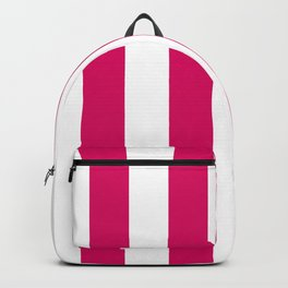 Bright Pink Peacock and White Wide Vertical Cabana Tent Stripe Backpack