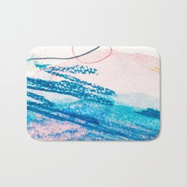 Abstract hand painted pink blue watercolor brushstrokes Bath Mat