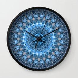 Digital mandala with light blue dominant. Wall Clock