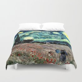 Monet's Poppies with Van Gogh's Starry Night Sky Duvet Cover