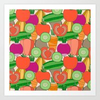 vegetables Art Prints featuring Vegetables by Valendji