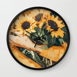 Holding Sunflowers #society6 #illustration #nature #painting Wall Clock