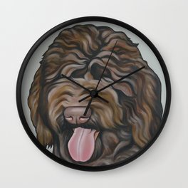 Labradoodle Portrait on Soft Grey Background Wall Clock