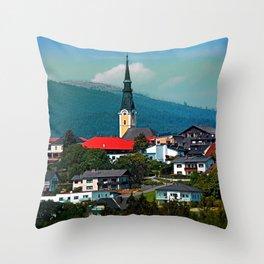 A village in autumn season Throw Pillow