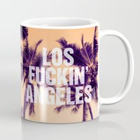los angeles Mugs featuring Los Angeles by Text Guy
