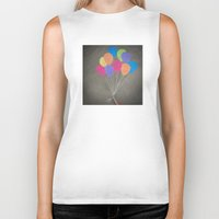 baloon Biker Tanks featuring Up up and away by Skye Zambrana