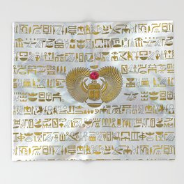 Egyptian Scarab Beetle Gold and Ruby Stone Throw Blanket