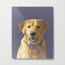 Happy Yellow Labrador Retriever Face Metal Print