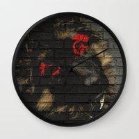 puppy Wall Clocks featuring puppy by Ezgi Kaya