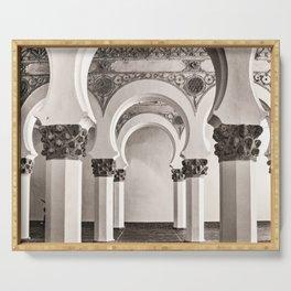 The Historic Arches in the Synagogue of Santa María la Blanca, Toledo Spain Serving Tray