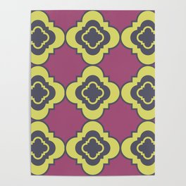 Quatrefoil - mauve, blue and yellow Poster