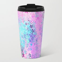flower pattern abstract background in pink purple blue green Travel Mug