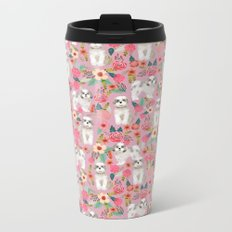 Shih Tzu florals love gift for dog person pet friendly portrait dog breeds unique small puppy Metal Travel Mug