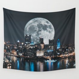 PGH #6 // Super Moon over Pittsburgh Wall Tapestry