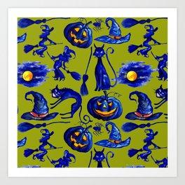 Halloween Witches on Brooms & Jack-O-Lantern Pattern Art Print