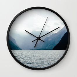 Misty Lake in the Alps Wall Clock