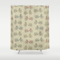 bicycles Shower Curtains featuring Summer Bicycles by Clemency Brown