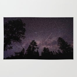Busy Sky - Shooting Stars, Planes and Satellites in Colorado Night Sky Rug