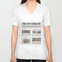 tina fey V-neck T-shirts featuring Tina Fey's Rules of Improvisation by lidia