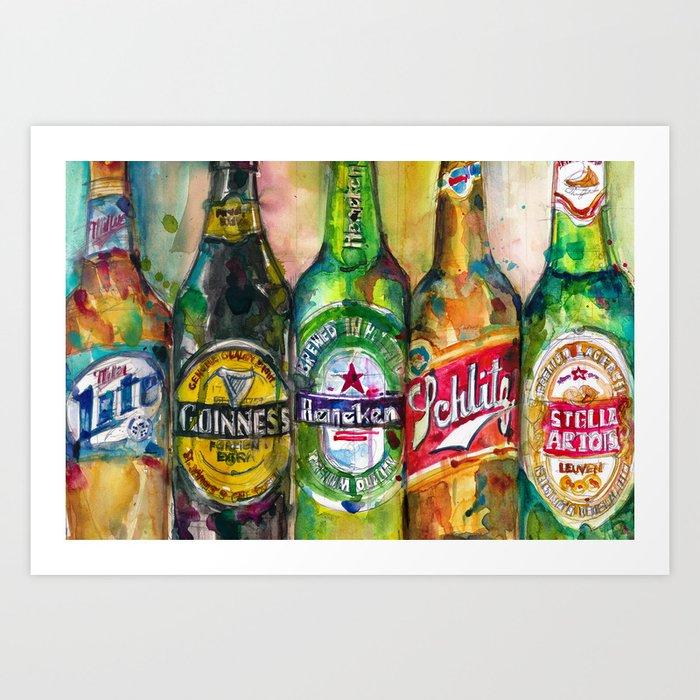 Brilliant Miller Lite Guinness Heineken Schlitz Stella Artois Art Print By Dorrierifkinwatercolors Theyellowbook Wood Chair Design Ideas Theyellowbookinfo