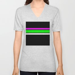 Team Colors 2....neon green and pink stripes Unisex V-Neck