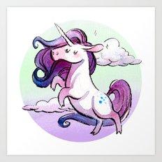 Chubby Unicorn: Indigo Art Print