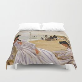 On the Beach at Trouville by Claude Monet Duvet Cover