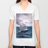 england V-neck T-shirts featuring New England by Samantha Crepeau