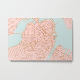 Boston map Metal Print