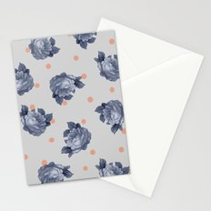 Blue Roses & Dots Stationery Cards