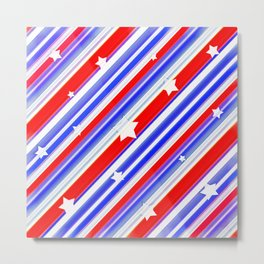 Usa Stars Design Colorful Abstract Motif  Metal Print