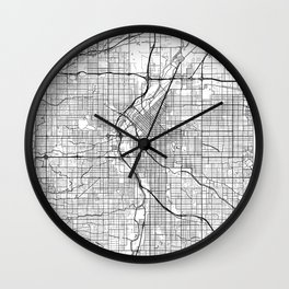 Denver Map White Wall Clock