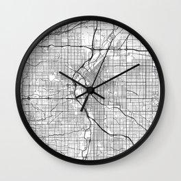 Denver Map White Wall Clock