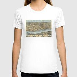 Vintage Pictorial Map of Little Rock AR (1871) T-shirt
