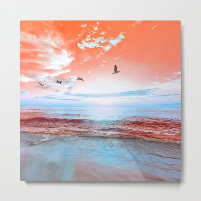 The Orange Sunrise in Sea Side Metal Print