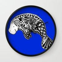 manatee Wall Clocks featuring Manatee by Casey Virata