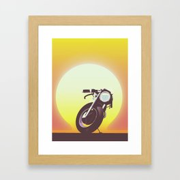 Vintage bike sunset Framed Art Print