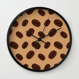Cool Brown Coffee beans pattern Wall Clock