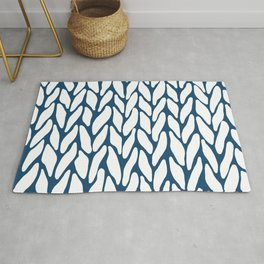 Hand Knitted Navy Rug