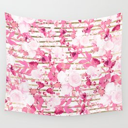 Watercolor pink white burgundy gold geometric floral Wall Tapestry
