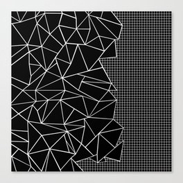 Abstract Grid Outline White on Black on Side Canvas Print