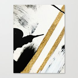 Armor [8]: a minimal abstract piece in black white and gold by Alyssa Hamilton Art Canvas Print