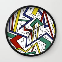 90s Wall Clocks featuring 90s or Bust by Cale potts Art