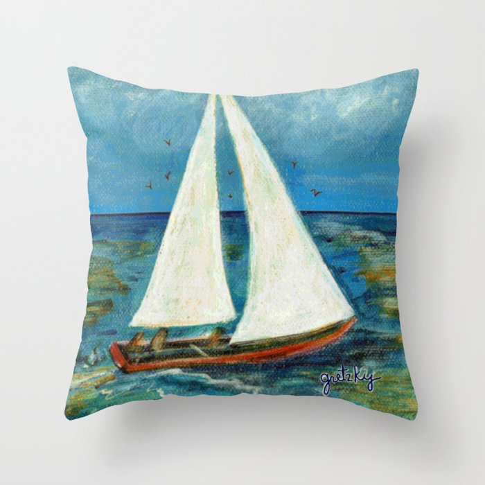A Day at Sea Throw Pillow