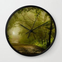 Misty Woodland Lane Wall Clock