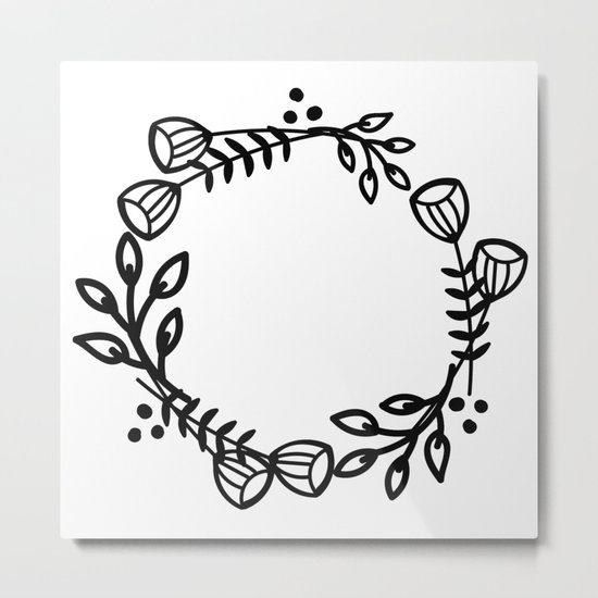 Doodle floral wreath Metal Print