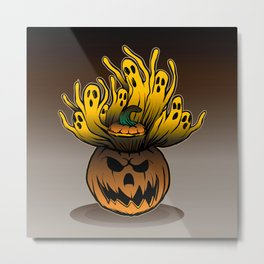 Classic character of ghost and pumpkin Metal Print
