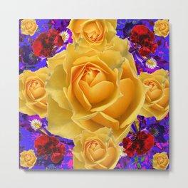 Yellow Roses & Purple-blue Floral Pattern Metal Print